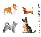 set of dog isolated on white... | Shutterstock .eps vector #640361470