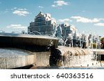 a modern fountain in the city... | Shutterstock . vector #640363516