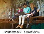 group of students learning... | Shutterstock . vector #640369048