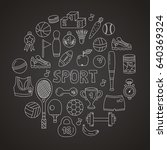doodle graphic sport fitness... | Shutterstock .eps vector #640369324