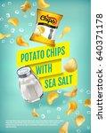 potato chips ads. vector... | Shutterstock .eps vector #640371178