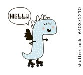 cute dinosaur doodle childish... | Shutterstock .eps vector #640375210