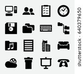 office icon. set of 16 office... | Shutterstock .eps vector #640379650