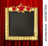 empty golden painting frame on... | Shutterstock .eps vector #640387504