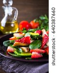 healthy salad plate with... | Shutterstock . vector #640387660