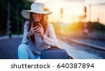 young smiling woman with... | Shutterstock . vector #640387894