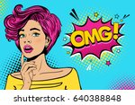 Wow female face. Sexy surprised young woman with open mouth and pink hair, bright makeup and OMG! speech bubble. Vector colorful background in pop art retro comic style. Party invitation poster.