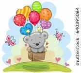 cute teddy bear in the box is... | Shutterstock .eps vector #640395064