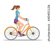 adult young woman riding... | Shutterstock . vector #640401136