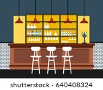 bar interior with counter.... | Shutterstock .eps vector #640408324