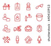 worker icons set. set of 16... | Shutterstock .eps vector #640410913