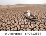 climate change  the man on wood ... | Shutterstock . vector #640413589