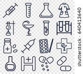 pharmacy icons set. set of 16... | Shutterstock .eps vector #640413640