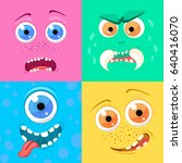 set of cartoon monster faces... | Shutterstock .eps vector #640416070