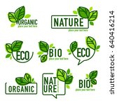 doodle organic leaves emblems ... | Shutterstock .eps vector #640416214