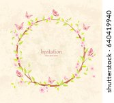 cute floral wreath with... | Shutterstock .eps vector #640419940