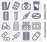 medication icons set. set of 16 ... | Shutterstock .eps vector #640421590