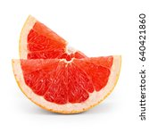 grapefruit slices isolated on... | Shutterstock . vector #640421860