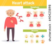 heart attack. symptoms and...   Shutterstock .eps vector #640425898