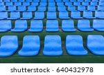 lines of blue stadium seats... | Shutterstock . vector #640432978