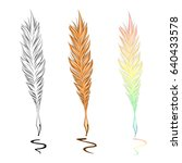 feather quill pen outline ... | Shutterstock .eps vector #640433578