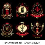 set of old style heraldry... | Shutterstock .eps vector #640435324