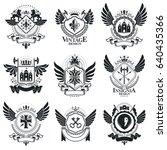 vintage emblems  vector...   Shutterstock .eps vector #640435366