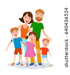 fun cartoon happy family in... | Shutterstock .eps vector #640436524