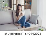 pretty young woman sitting on...   Shutterstock . vector #640442026