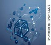 3d vector bauhaus abstract blue ... | Shutterstock .eps vector #640442278