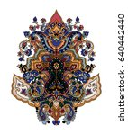 lotus paisley composition.... | Shutterstock .eps vector #640442440