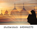 muslim woman silhouette prayer...   Shutterstock . vector #640446370