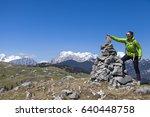happy smiling woman hiker...   Shutterstock . vector #640448758