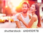 young happy interracial couple... | Shutterstock . vector #640450978