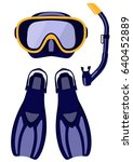 scuba mask and snorkel  diving...   Shutterstock .eps vector #640452889