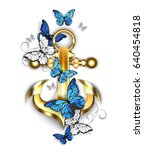 gold  jewelry anchor with blue...   Shutterstock .eps vector #640454818