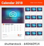 wall calendar planner for 2018... | Shutterstock .eps vector #640460914