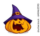 funny pumpkin to celebrate... | Shutterstock .eps vector #640463590