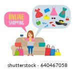 online shopping concept. woman... | Shutterstock .eps vector #640467058