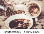 coffee for breakfast and...   Shutterstock . vector #640471528
