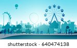 wheel amusement parks with... | Shutterstock .eps vector #640474138