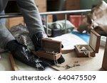 burglar stealing items from... | Shutterstock . vector #640475509