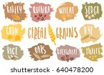 vector set of cereal emblems... | Shutterstock .eps vector #640478200