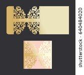 golden envelope with carved... | Shutterstock .eps vector #640484020