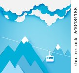 cable car paper art style with... | Shutterstock .eps vector #640484188