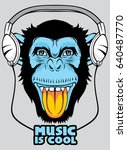 cool monkey for t shirt and... | Shutterstock .eps vector #640487770