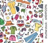 fashion seamless pattern. italy.... | Shutterstock .eps vector #640492096
