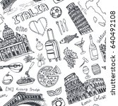 italy landmark food seamless... | Shutterstock .eps vector #640492108