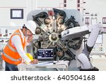 engineer using laptop computer... | Shutterstock . vector #640504168