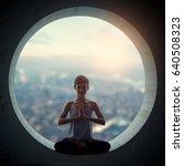 beautiful sporty fit yogi woman ...   Shutterstock . vector #640508323